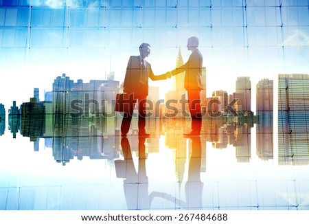 Businessman Cityscape Agreement Handshaking Deal Collaboration Concept - stock photo