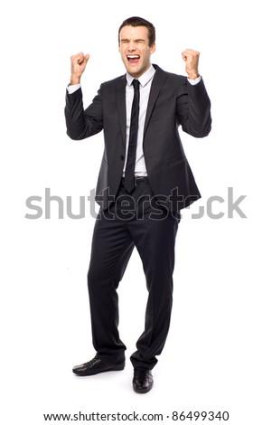 Businessman clenching fists - stock photo
