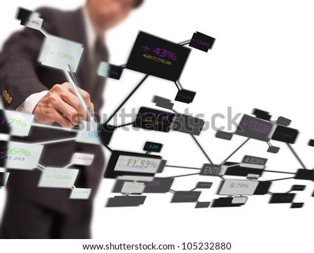 businessman click on  virtual chart on white background - stock photo