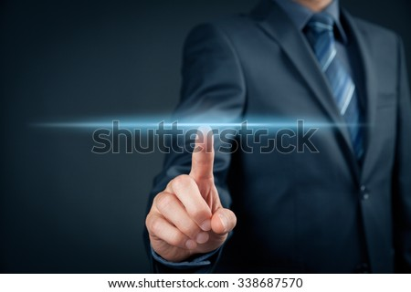 Businessman click on virtual touchscreen. Futuristic business and IT presentation background.  - stock photo