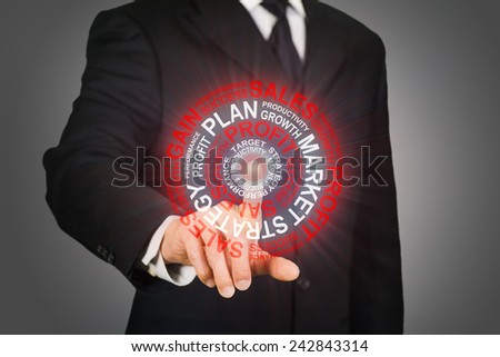 Businessman clicking on a target formed by business related words - stock photo