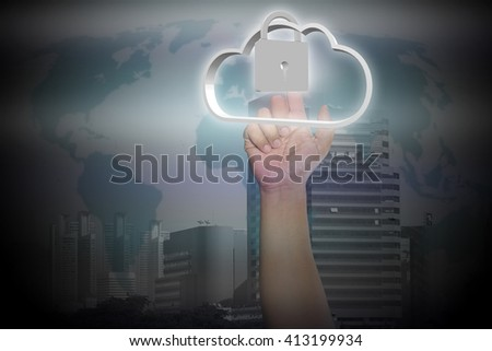 businessman clicks on the touch screen and select the cloud computing. communication. internet concept. - stock photo