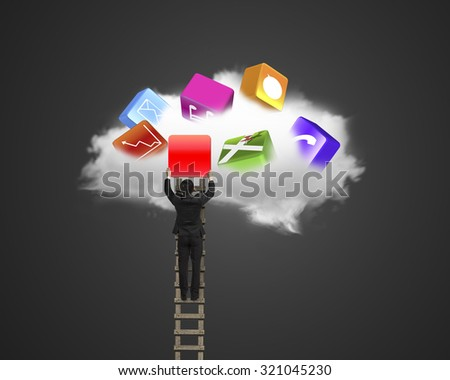 Businessman climbing ladder and getting blank red icon from white cloud, on black background. - stock photo
