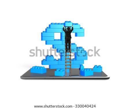 Businessman climbing ladder and holding a blue block to complete dollar sign shape of stack blocks with smart phone, isolated on white background. - stock photo
