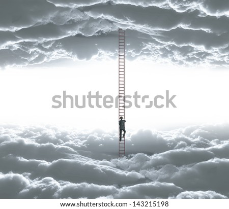 businessman climbing o ledder from cloud to cloud - stock photo