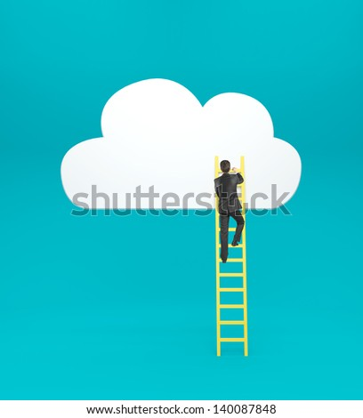businessman climbing on ladder  to drawing cloud - stock photo