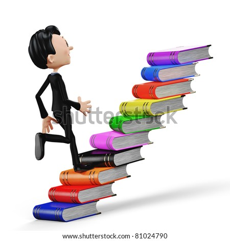 businessman climbing the books back view - stock photo