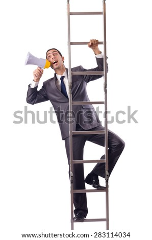 Businessman climbing the ladder isolated on white - stock photo