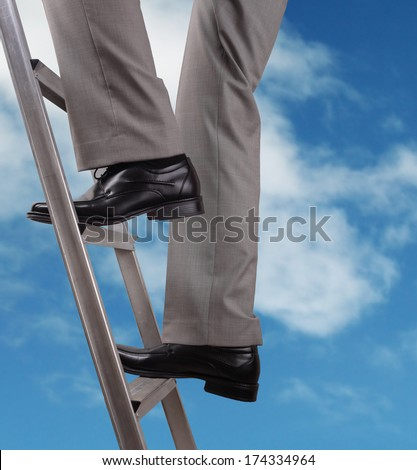 Businessman climbing the ladder of success - stock photo