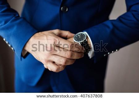 businessman clock clothes - stock photo