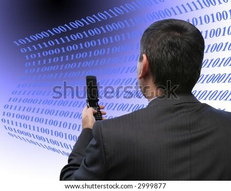 Businessman coding a file - stock photo