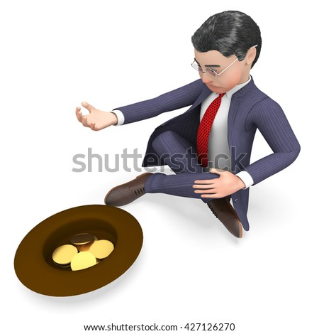 Businessman Coins Representing Homeless Profit And Starvation 3d Rendering - stock photo