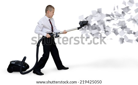 businessman collects paper documents  - stock photo