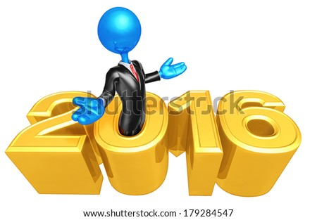 Businessman Coming Out Of Year