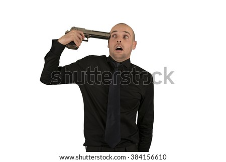 Businessman commiting suicide isolated - stock photo