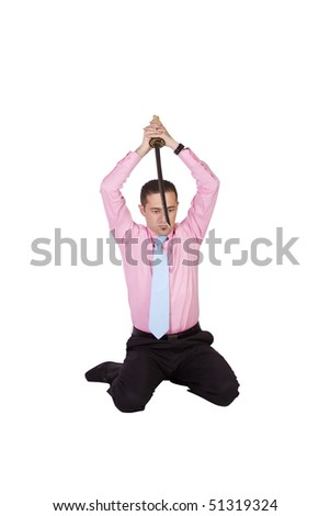 Businessman Committing Suicide with a Sword - Harakiri on an Isolated Background