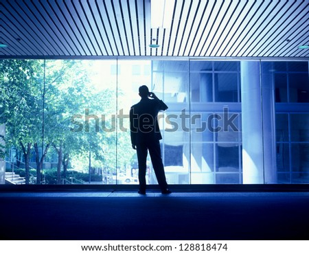 Businessman communicating standing on the phone in front of a row of windows - stock photo