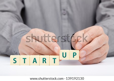 Businessman complete his startup business. Investor accelerate start-up project concept.  - stock photo