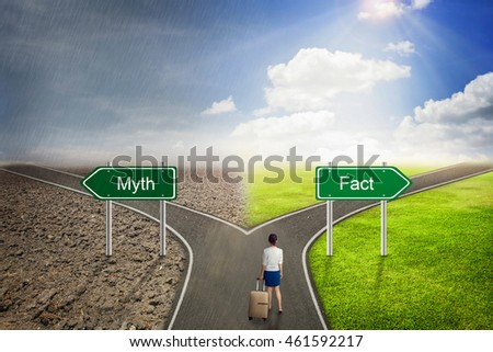 Businessman concept,  Myth or Fact road to the correct way.