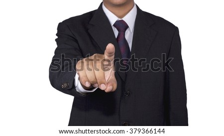 Businessman concept pushing touch blank with white background isolated