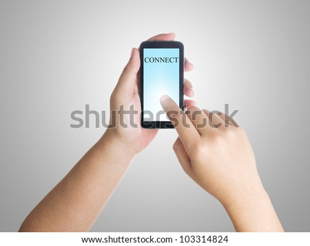 Businessman connect to the internet by using smart phone - stock photo