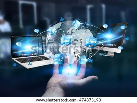Businessman connected tech devices and icons applications to a digital planet earth 3D rendering