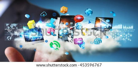 Businessman connecting cloud to tech devices and icons applications  '3D rendering'