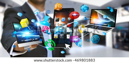 Businessman connecting colorful tech devices and icons applications 3D rendering