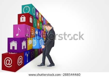 Businessman contorted with hands down against app box - stock photo