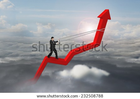 Businessman control arrow direction of 3D red trend line in the sky with cumulus cloudscapes background - stock photo