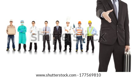 businessman cooperate with different industries people  - stock photo