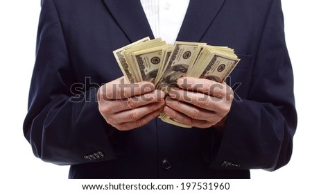 Businessman counting dollars. Business concept. - stock photo
