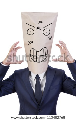 businessman cover head with bag that show his emotion angry