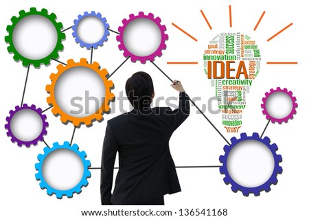 Businessman create idea system for business concept - stock photo