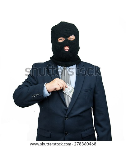 Businessman, Criminal hiding money   from suit on white background