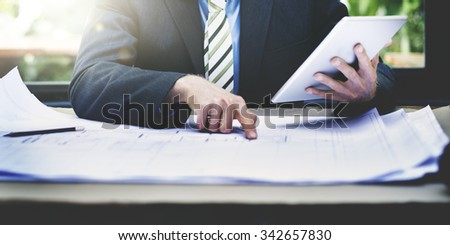 Businessman Design Planning Blueprint Building Concept, blurred. - stock photo