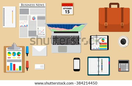 Businessman desk with laptop, tablet smartphone and stationery, calculator, letter, coffee, newspaper. illustration in flat design for business concept Raster version - stock photo