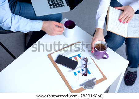 Businessman  devices, digital tablet computer and mobile phone - stock photo