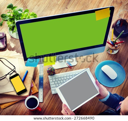 Businessman Digital Devices Using Working Concept - stock photo