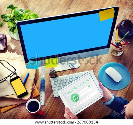 Businessman Digital Devices Web Uploading Working Concept - stock photo