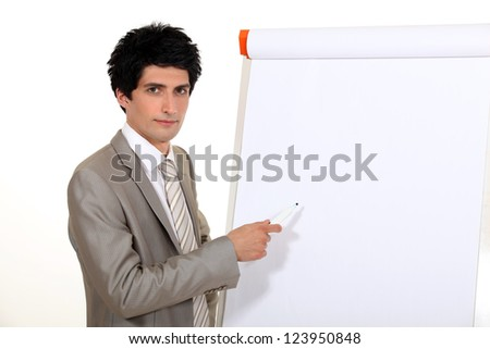 Businessman doing a presentation. - stock photo