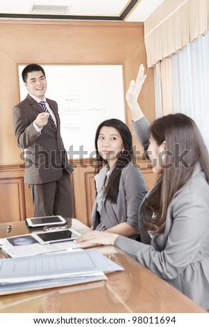 Businessman doing presentation in the office - stock photo