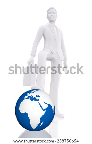 Businessman dominating earth - stock photo