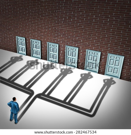 Businessman door choice concept as a person deciding to choose the right doorway with a cast shadow of multiple people from a group of entrance possibilities to increase the odds of career success. - stock photo