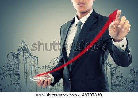 Businessman drag a rising arrow at smartphone, representing business growth, on virtual background. - stock photo