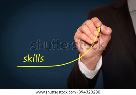 Businessman draw growing line symbolize growing Skills - stock photo
