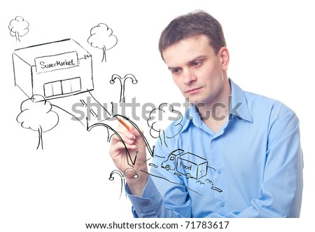 Businessman drawing  a bridge between a car driven by food  and  supermarket - stock photo