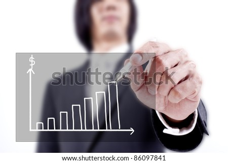 Businessman drawing a chart