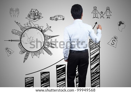 Businessman drawing a chart and success. - stock photo