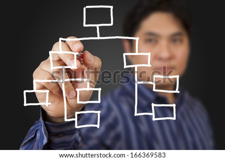 Businessman drawing a chart on gray background